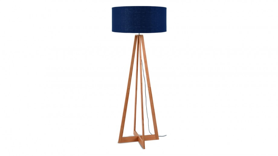 Lampadaire en bambou abat jour en lin bleu denim - Collection Eeverest - Good&Mojo