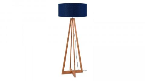Lampadaire en bambou abat jour en lin bleu denim - Collection Eeverest - Good&Mojo