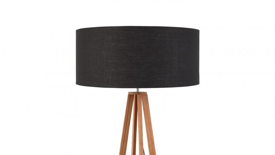 Lampadaire en bambou abat jour en lin gris foncé - Collection Eeverest - Good&Mojo