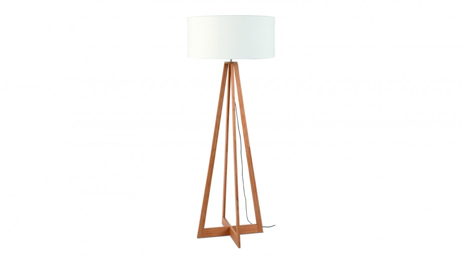 Lampadaire en bambou abat jour en lin blanc - Collection Eeverest - Good&Mojo