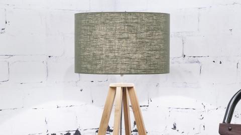 Lampe à poser en bambou abat jour en lin vert forêt Collection Everest - Good&Mojo