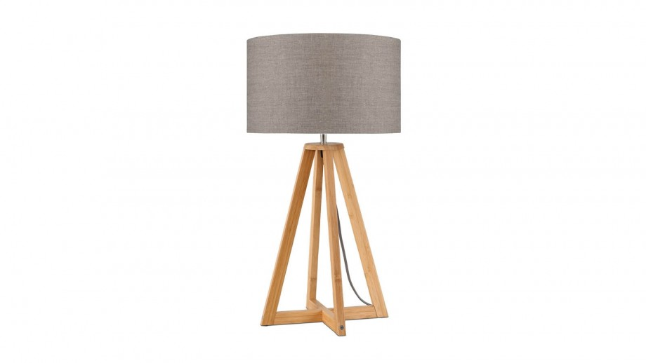 Lampe à poser en bambou abat jour en lin foncé Collection Everest - Good&Mojo
