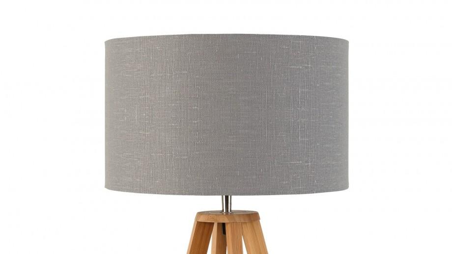 Lampe à poser en bambou abat jour en lin gris clair Collection Everest - Good&Mojo