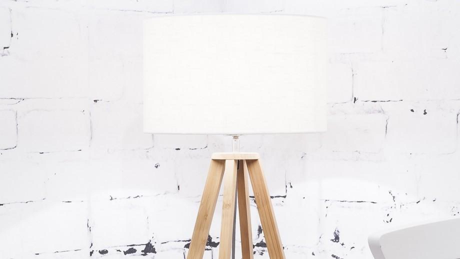 Lampe à poser en bambou abat jour en lin blanc Collection Everest - Good&Mojo