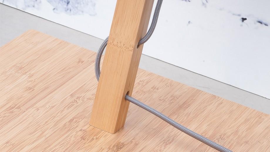 Lampadaire en bambou abat jour en lin foncé - Collection Fuji - Good&Mojo