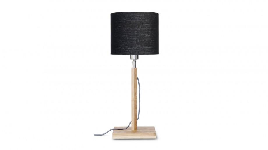 Lampe à poser en bambou abat jour en lin noir - Collection Fuji - Good&Mojo