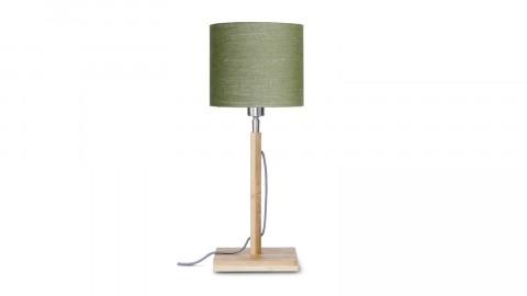 Lampe à poser en bambou abat jour en lin vert forêt - Collection Fuji - Good&Mojo