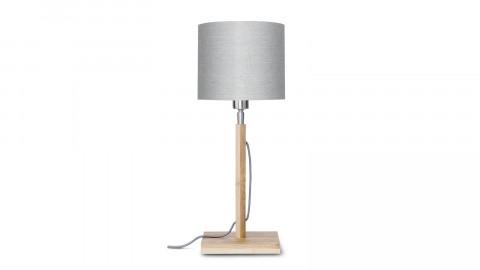 Lampe à poser en bambou abat jour en lin gris clair - Collection Fuji - Good&Mojo