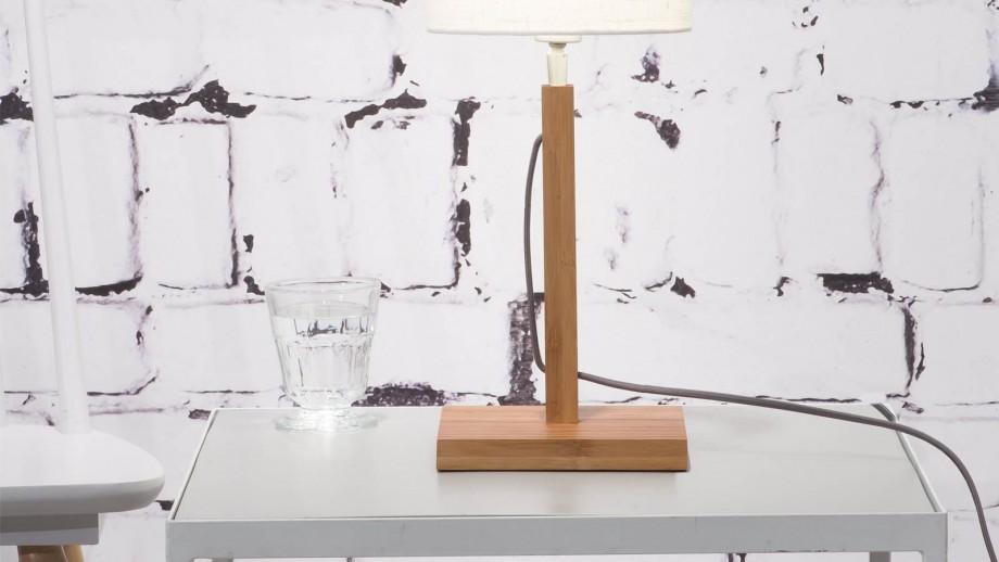 Lampe à poser en bambou abat jour en lin blanc - Collection Fuji - Good&Mojo