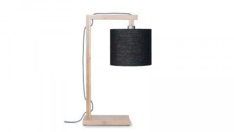 Lampe de table en bambou abat jour en lin noir - Collection Himalaya - Good&Mojo