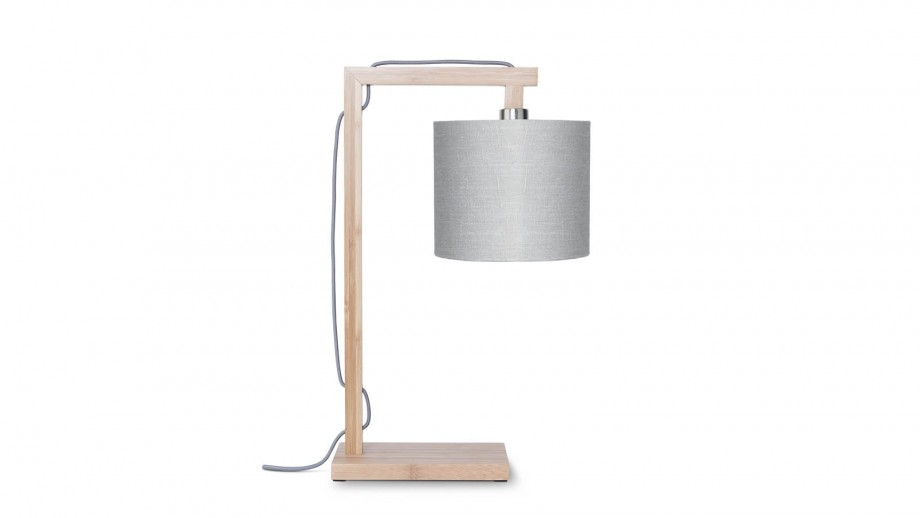 Lampe de table en bambou abat jour en lin gris clair - Collection Himalaya - Good&Mojo