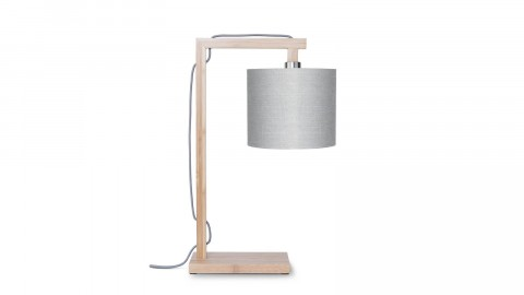 Lampe de table en bambou abat jour en lin gris clair - Collection Himalaya - Good&Mojo