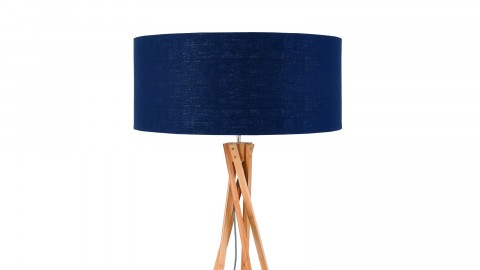Lampadaire en bambou abat jour en lin bleu denim - Collection Kilimanjaro - Good&Mojo