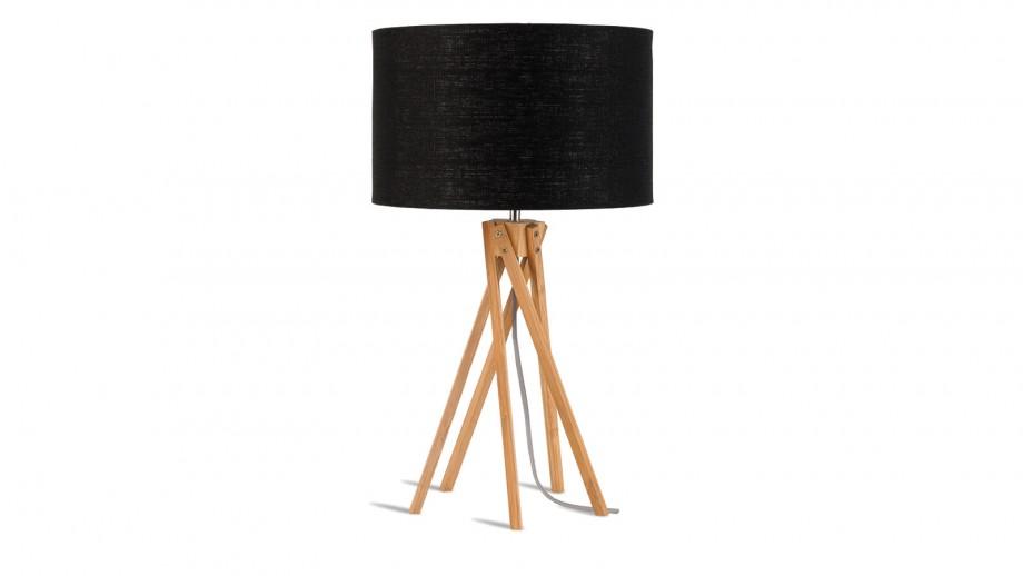 Lampe de table en bambou abat jour en lin noir - Collection Kilimanjaro - Good&Mojo