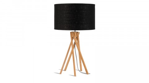 Lampe de table en bambou abat jour en lin noir - Collection Kilimanjaro - Good&Mojo