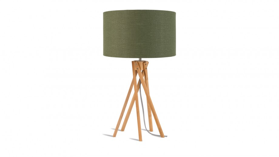 Lampe de table en bambou abat jour en lin vert forêt - Collection Kilimanjaro - Good&Mojo
