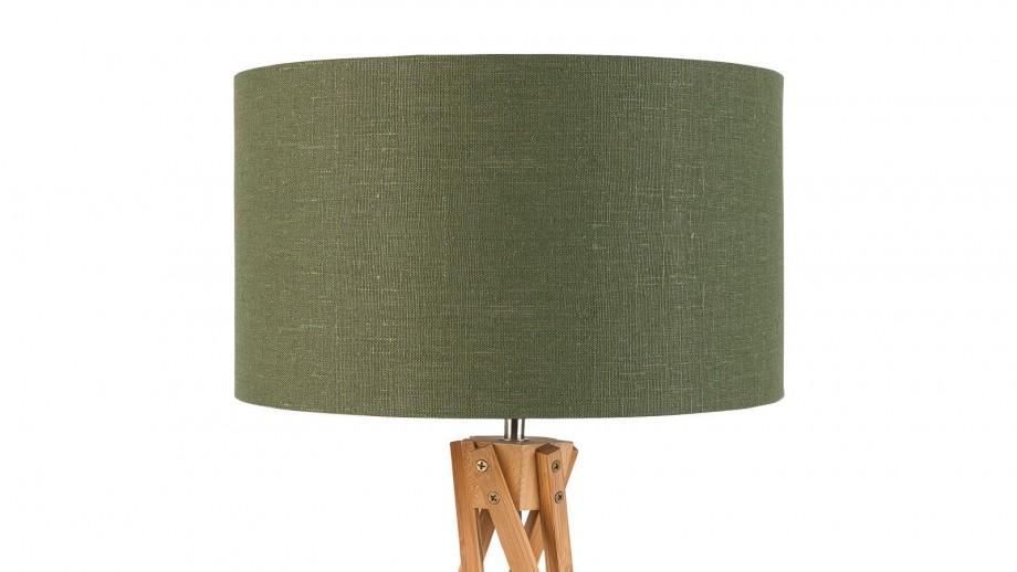 Lampe de table en bambou abat jour en lin vert forêt - Collection Kilimanjaro - Good&Mojo