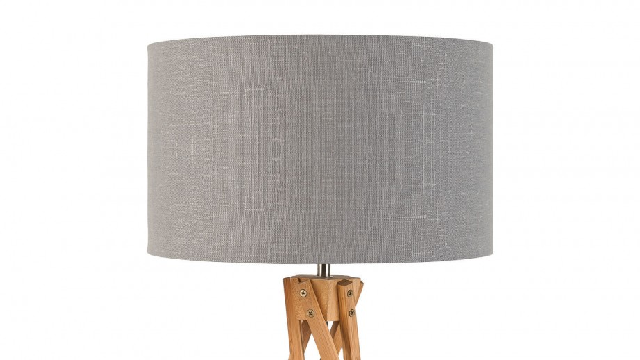 Lampe de table en bambou abat jour en lin gris clair - Collection Kilimanjaro - Good&Mojo
