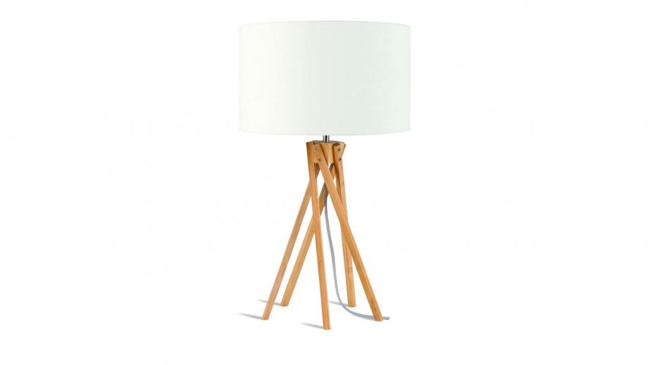 Lampe de table en bambou abat jour en lin blanc - Collection Kilimanjaro - Good&Mojo