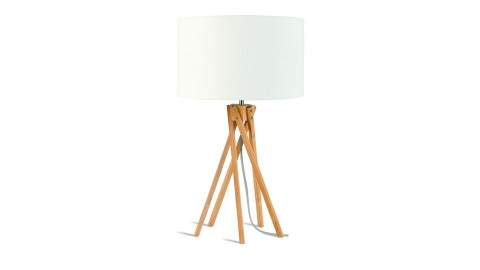 Lampe de table en bambou abat jour en lin blanc - Collection Kilimanjaro - Good&Mojo