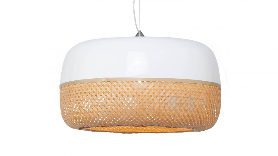 Suspension simple plate en bambou L - Collection Mekong - Good&Mojo