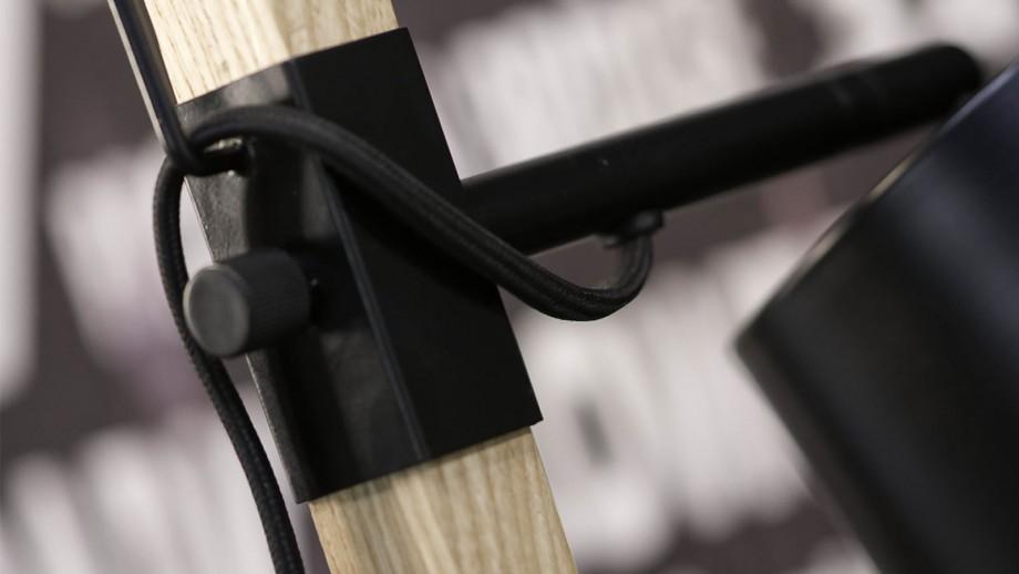 Lampe de table en fer et bois de frêne carré noir et naturel - Collection Sydney - It's About Romi
