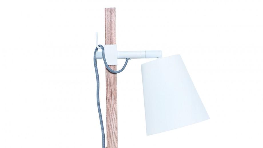 Lampe de table en fer et bois de frêne carré blanc et naturel - Collection Sydney - It's About Romi