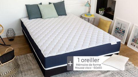 Matelas mousse à mémoire de forme 90x190 Visco Fresh Hbedding + 1 oreiller à mémoire de forme 60x60cm.