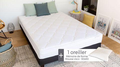 Matelas mousse à mémoire de forme 90x190 Memo Visco Hbedding + 1 oreiller à mémoire de forme 60x60cm.