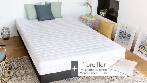 Matelas mousse haute densité 90x190 Ergo Plus Hbedding + 1 oreiller à mémoire de forme 60x60cm.