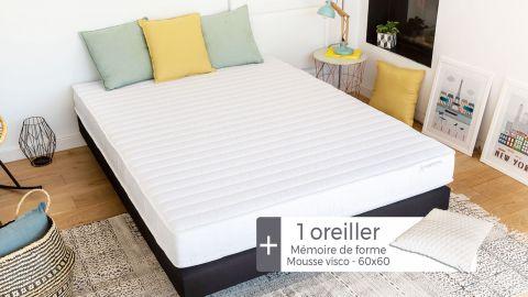Matelas mousse haute densité 90x190 Confort Zen Hbedding + 1 oreiller à mémoire de forme 60x60cm.