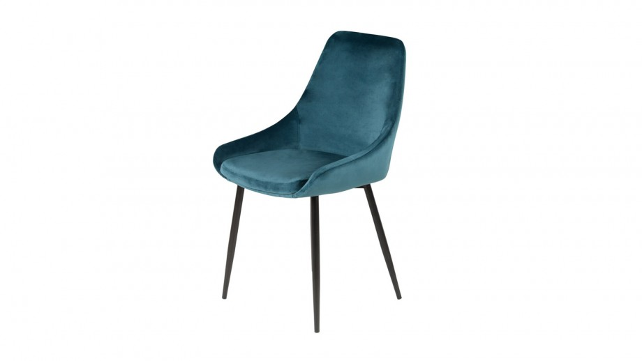 Lot de 2 chaises repas en velours bleu - Collection Bari - Zago