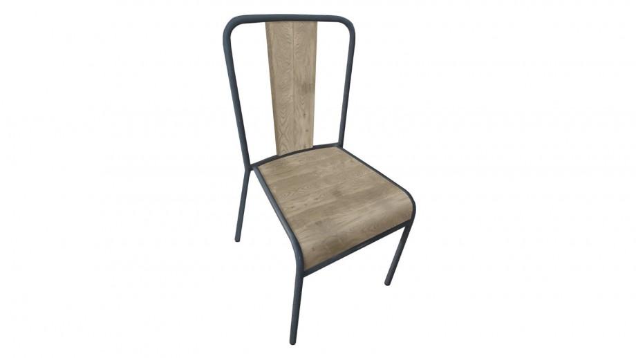 Manø - Lot de 4 chaises style Industriel, bois et métal