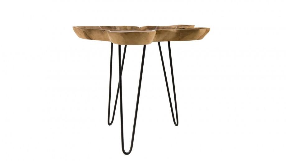 Table d'appoint en teck piètement épingles en métal noir - Collection Clara