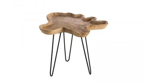 Table d'appoint en teck piètement épingles en métal noir - Collection Mia