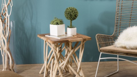 Table d'appoint carré en teck piètement en bois flotté - Collection Mia