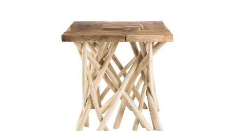 Table d'appoint carré en teck piètement en bois flotté - Collection Clara