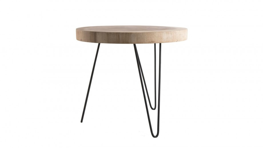 Table d'appoint ronde GM en mungur piètement épingles en métal noir - Collection Clara