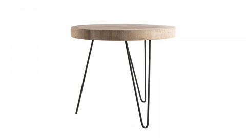 Table d'appoint ronde GM en mungur piètement épingles en métal noir - Collection Mia