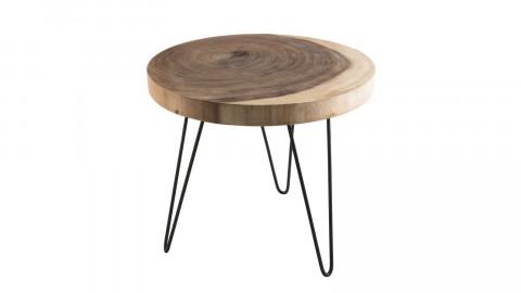 Table d'appoint ronde GM en mungur piètement épingles en métal noir - Collection Clara