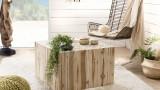 Table basse carrée en branches teck - Collection Mia