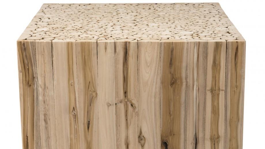 Table basse carrée en branches teck - Collection Clara