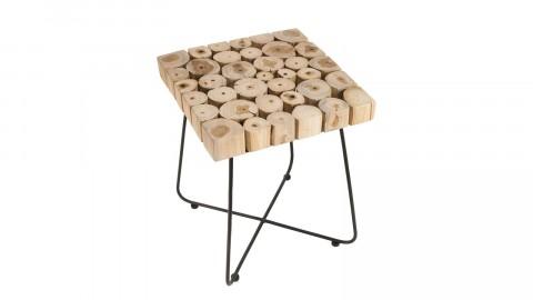 Table d'appoint carrée plateau en rondelles de bois piètement en métal noir - Collection Clara
