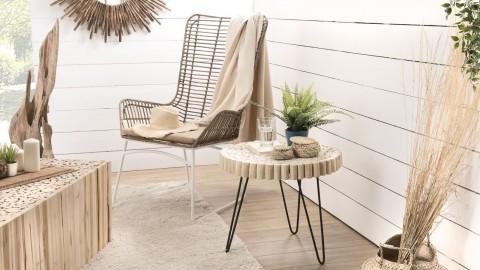 Table d'appoint ronde plateau en rondelles de bois piètement en métal noir - Collection Mia