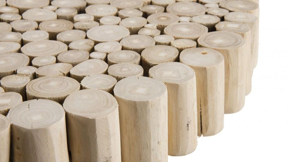 Table d'appoint ronde plateau en rondelles de bois piètement en métal noir - Collection Clara