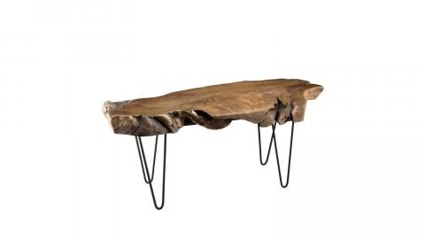 Table basse en teck piètement épingles en métal noir - Collection Clara