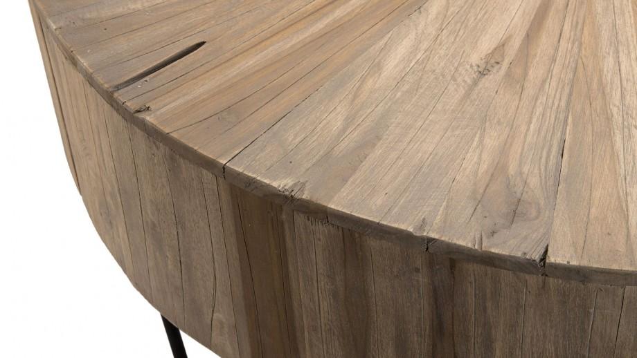 Table basse ronde en teck piètement épingles en métal noir - Collection Clara
