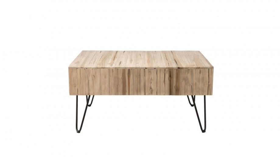 Table basse 2 tiroirs en teck piètement épingles en métal noir - Collection Clara