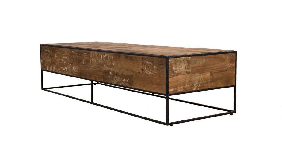 Table basse rectangulaire en teck recyclé et métal - Collection Sixtine
