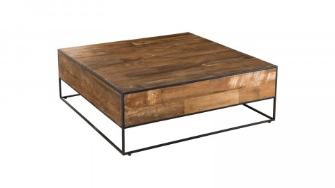 Table basse carrée 100x100cm en teck recyclé et métal - Collection Athena